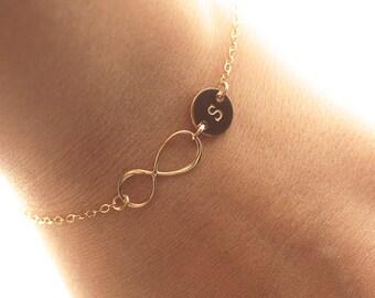 Personalized Infinity Bracelet, Initial Bracelet, Gold Filled Infinity Bracelet, Mother's Heart Bracelet, Bridesmaids Jewelry