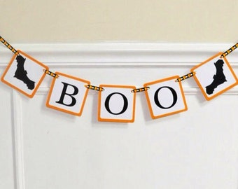Boo Paper Banner with Bats - Halloween Party Decoration - Mantle Decor - Haunted House Decor - Orange and Black Garland