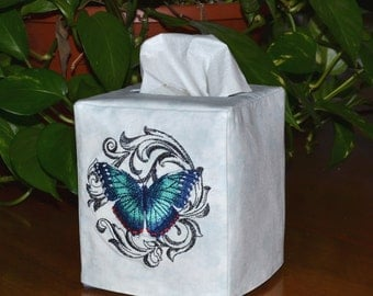 Blue Morpho Butterfly Tissue Box Cover