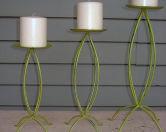 SALE Retro Green Metal Candleholders Set of 3