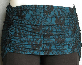Teal with Black Lace, Ruched Overskirt for Tribal Belly Dance or Hoop Dance