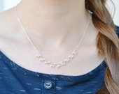 Pearl Snow Fall - All Sterling Necklace - simple pretty wedding pearl necklace