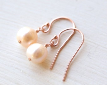 Dainty Rose Gold Pearl Dangle Earrings - Simple wedding and everyday Jewelry