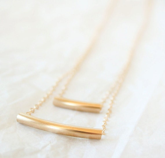 Layered 14K Gold Filled Curved Tube Necklace / modern simple everyday necklace