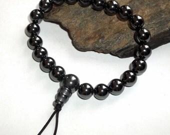 Hematite Mala Bracelet Black Wrist earthegy