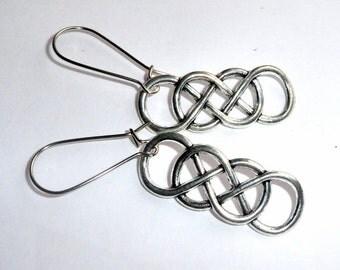 Silver Double  Infinity Earrings earthegy