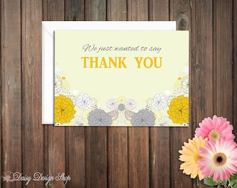 Thank You Cards - Spring Flowers in Mustard Yellow and Gray - Set of 10 with Envelopes