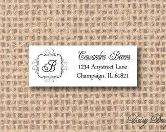 Return Address Labels with Initial or Monogram in Bracket Frame - 120 self-sticking labels