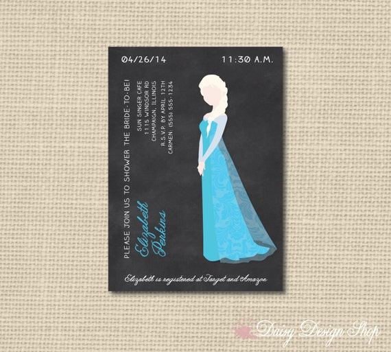 Bridal Shower Invitation - Queen Elsa Silhouette on Chalkboard Style ...