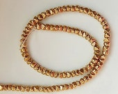 25 pcs Gold plated  brass  , faceted ,   spacer bead (6x5mm),