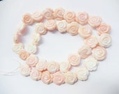 2pcs Carved conch shell flower beads, bridal jewelry, wedding jewelry,pink, cream and white, peach pink