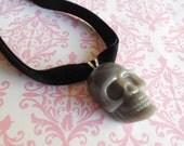 Pastel Goth skull necklace choker grey
