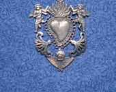 Large Sacred Heart Antiqued Milagro One With Angels Milagros Ex voto Nicho Style