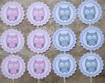 Pink and blue owl themed cupcake toppers- 12 pink 12 blue