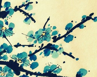 Plum Blossom-Blue on Yellow-Set of five notecards