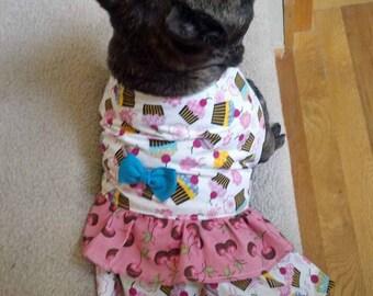 French Bulldog Birthday Dress in Cupcakes and Cherries!