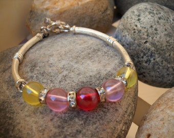 PINK Lemonade With A Cherry Twist BEADED Bracelet