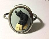 cat on skull cameo cuff bracelet