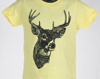 Deer on Lemon Yellow American Apparel T Shirt