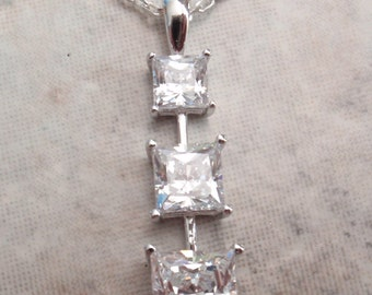 Journey Pendant Clear CZ Necklace Sterling Silver Vintage GS0048