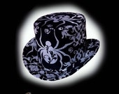 Victorian Mini Top Hat in Metallic Silver and Black with Spider Design