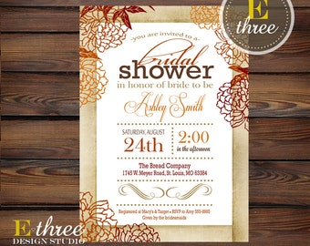 Vintage Fall Bridal Shower Invitation - Shabby Chic Autumn Wedding Shower Invitation - Orange, Burgandy, Brown Mums