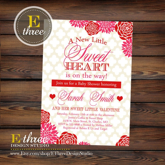Items similar to Printable Valentine's Baby Shower Invitation - Red and Pink Rose Floral Shower ...