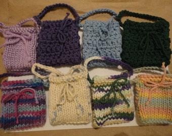mini knit or crochet pouch you pick color