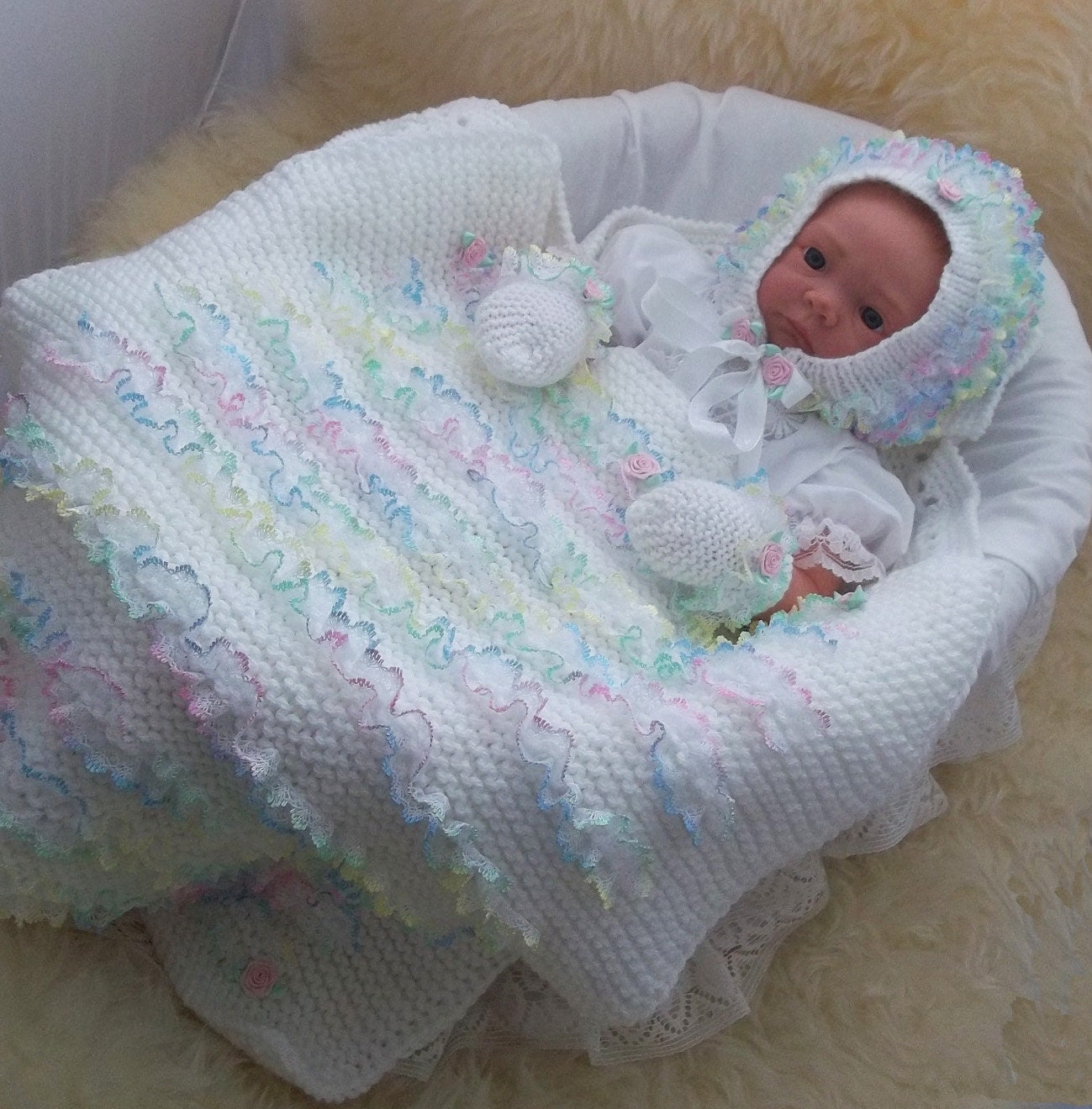 Baby Knitting Pattern Girls Lace Pram Blanket Baby Hat