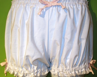 Womens White Bloomers, pajama bottoms, Size Small Bloomers, White Cotton Trimmed in Pink Ribbons and White Eyelet