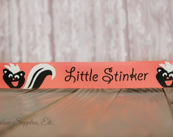 Little Stinker 7/8 ribbon - Choose from 1-20 yd Printed Grosgrain Ribbon - High Quality