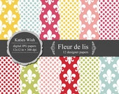 Fleur de Lis Digital Paper Set 12x12 inch jpgs CU commercial use