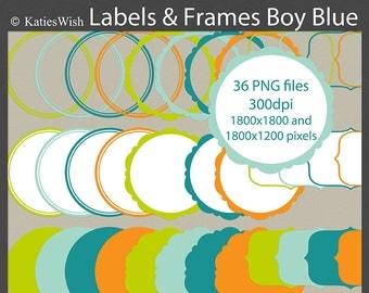 Boy Blue Label Clip Art PNG files digital journaling tags for scrapbooking, invites, labels