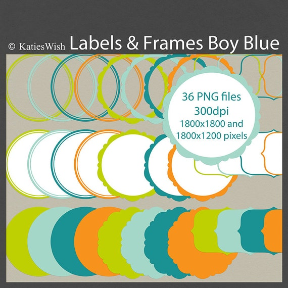 Boy Blue Label Clip Art PNG files digital journaling tags for scrapbooking, invites, labels