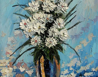 Flowers Original Oil Painting MADE2ORDER Palette knife colorful handmade White daisies Vase Blue Home Office decor Texture ART by Marchella