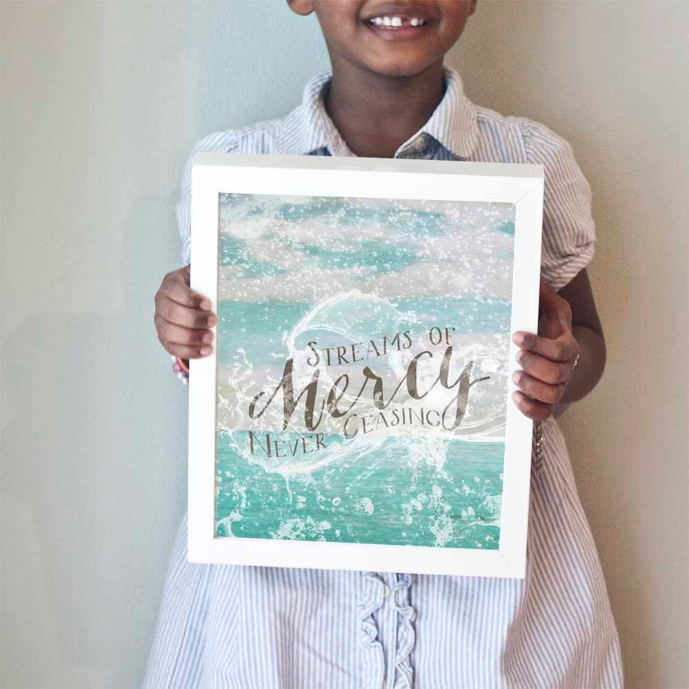 Streams of Mercy Never Ceasing print in turquoiuse, gray, and white