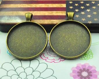 Cabochon base setting 20pcs antique bronze Bezel Tray charms necklace round Pendants 30mm