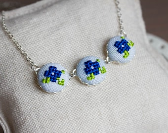 Romantic necklace with violet flowers, cross stitch floral necklace, in blue n032blue