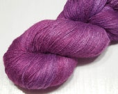 Tussah silk lace weight handdyed yarn 79g (2.8oz) - Red lilac