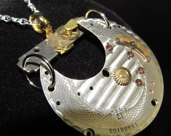 Guilloche Engraved Steampunk Watch Plate Necklace Pendant Q 4