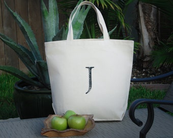 Personalized Custom Monogram Letter J Canvas Bag, Grocery Bag, Farmers Market Bag, Beach Bag, Large Tote Bag, Earth Day Gift