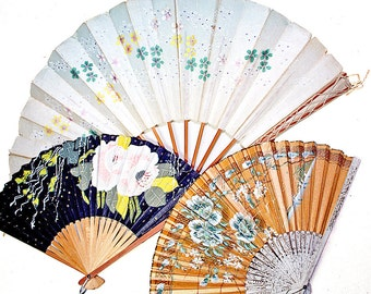 Vintage Asian Fan Collection Hand Painted Home Decor Collage Art