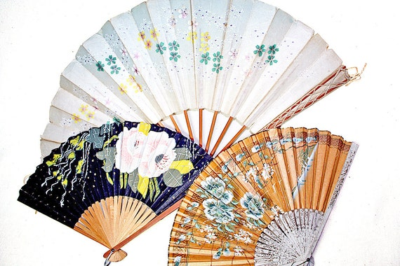 Vintage Asian Fan Collection Hand Painted Home Decor Collage