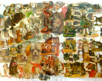 5 Sheets Victorian Cats & Dogs Die Cut Sheets German Embossed