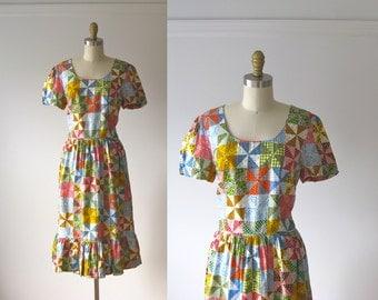 vintage Pinwheel Patchwork dress / folk day dress