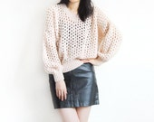 Vintage Crochet Slouchy Nude Color Sweater