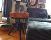 Distressed Wooden Side Table Tripod Assemblage