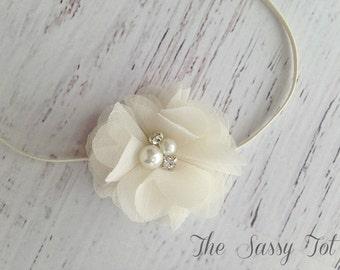Ivory Newborn Headband, Ivory Baby Headband, Flower Headband, Baby Girls