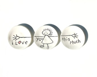 Quote Ceramic Plates - Kitchen Plates - Unique Ceramic Plates -  Small Quote Plate - Candle Plates - Trinket Plates - I Love You This Much