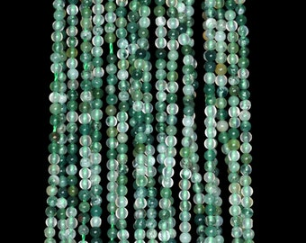 """2mm Moss Agate Round beads full strand 16"""" Loose Beads P142728"""
